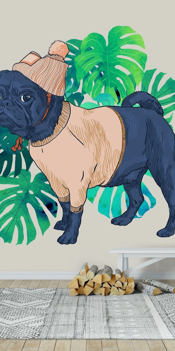 Got a Pug Wall mural (With images) Pug wallpaper, Wall