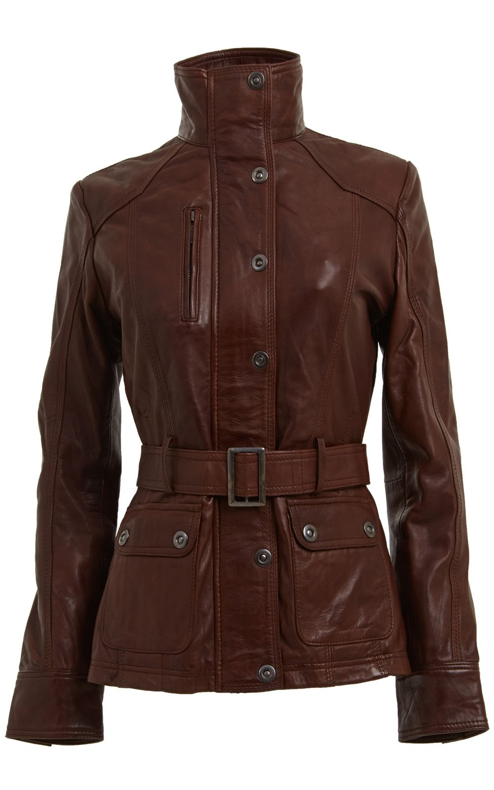 ladies vintage leather jacket | Womens Brown Vintage Belted ...