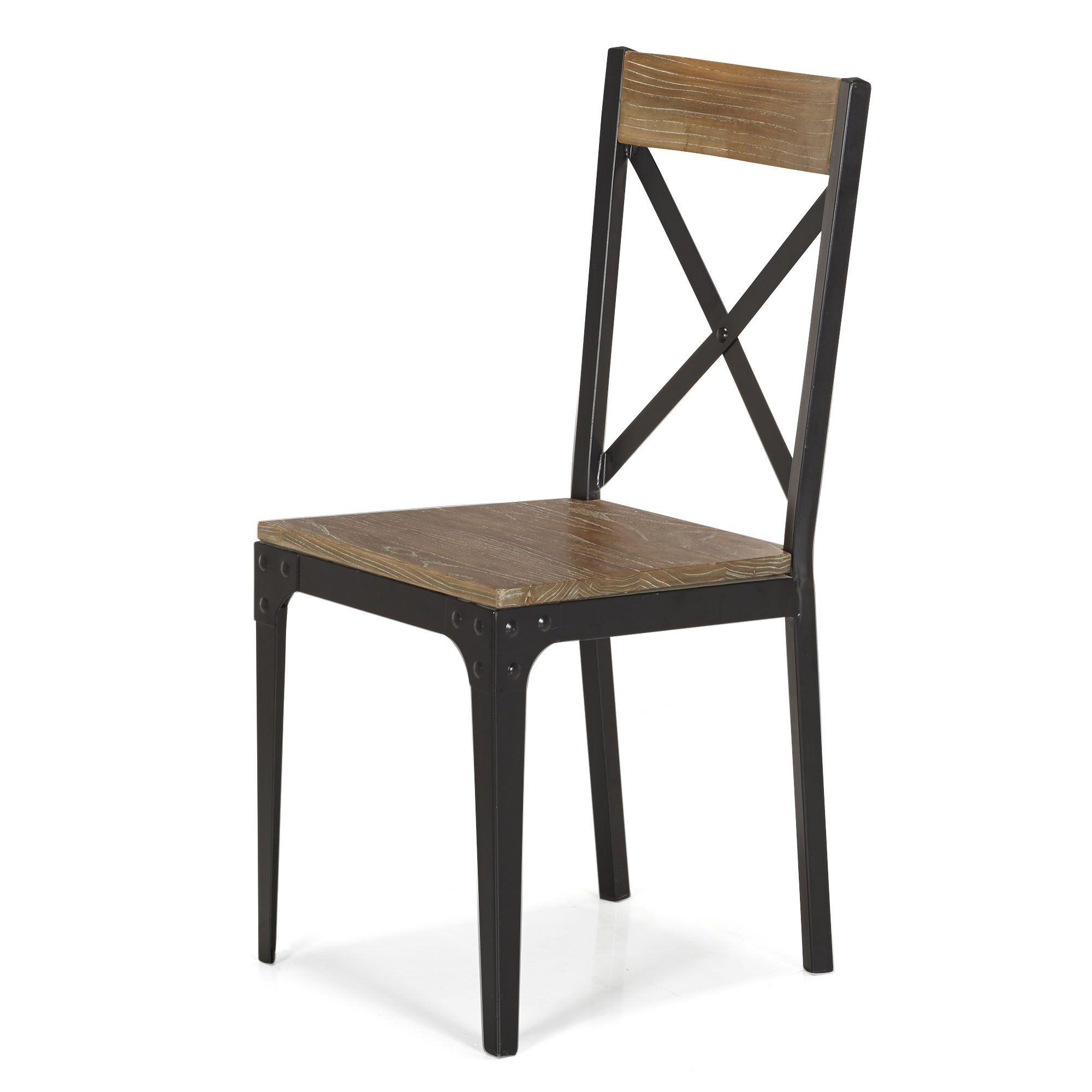 Chaise Bois Et Metal Industriel chaise indus en orme et métal naturel/noir - bark - chaises