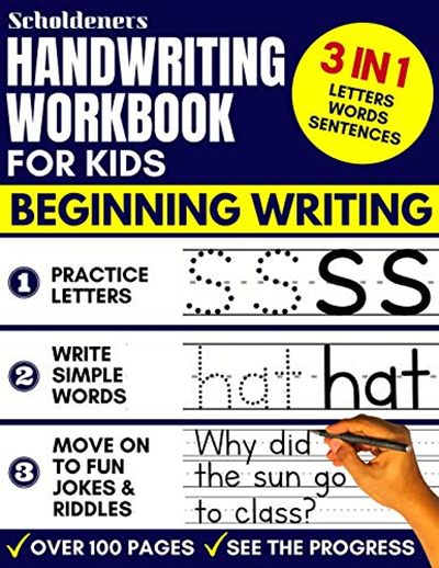 Handwriting Workbook For Kids 3 In 1 Writing Practice Book To Master Letters Words Sentences By Scholdeners Independently Published Word Sentences Jokes And Riddles Writing Practice