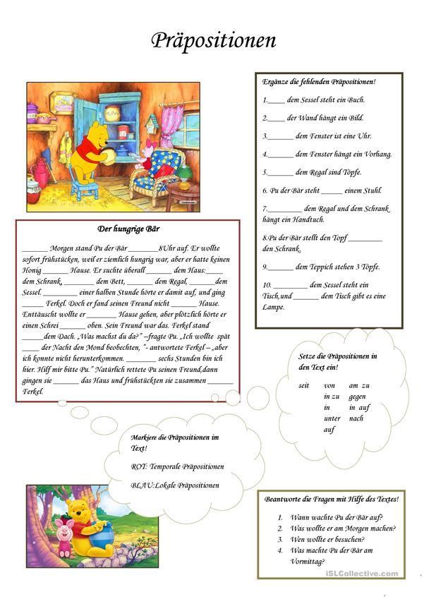 Praepositionen (mit Bildern) Deutsch lernen kinder