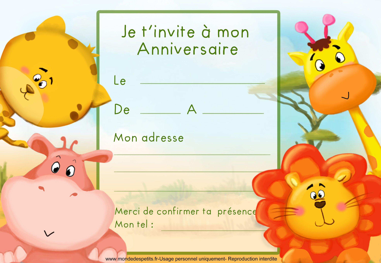 Bien-aimé Carte Invitation Anniversaire Enfant #15: Carte / Invitation  PM99