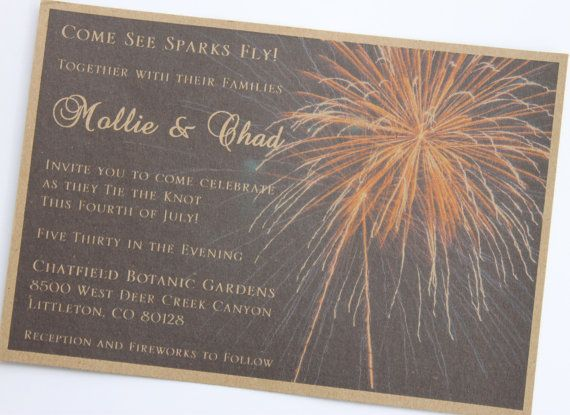 Rustic 4th of July Firework Wedding Invitation. A perfect touch for those who are thinking about getting married around patriotic holidays.