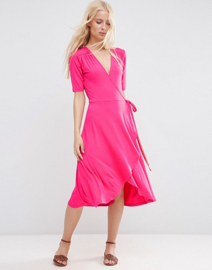 Image 1 of ASOS Midi Tea Dress With Wrap Front | Words Unspoken ...
