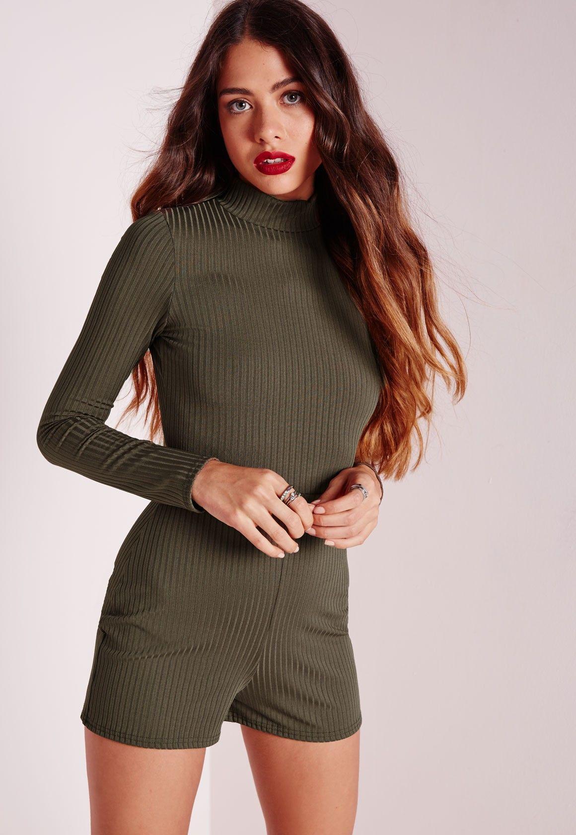 Petite Ribbed Long Sleeve Romper Khaki   Women\'s fashion   Pinterest
