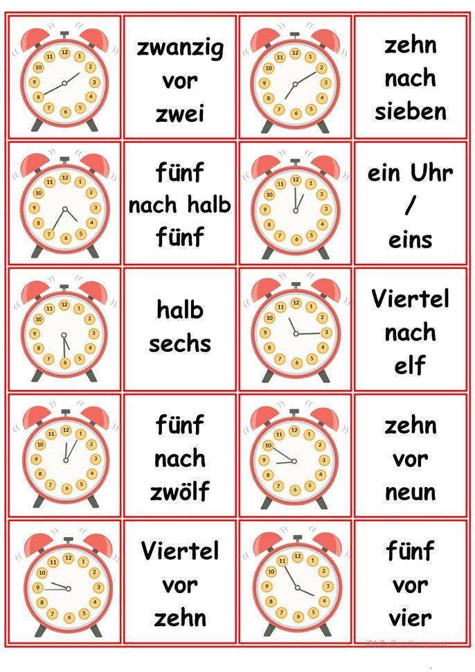 Spiele im Deutschunterricht: Memory - die Uhrzeiten | Lesen ...