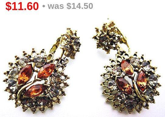 "Fall Amber Earrings Dangle Style Clip Ons Smoke Topaz Rhinestones Gold Metal 1 3/4"" Vintage"