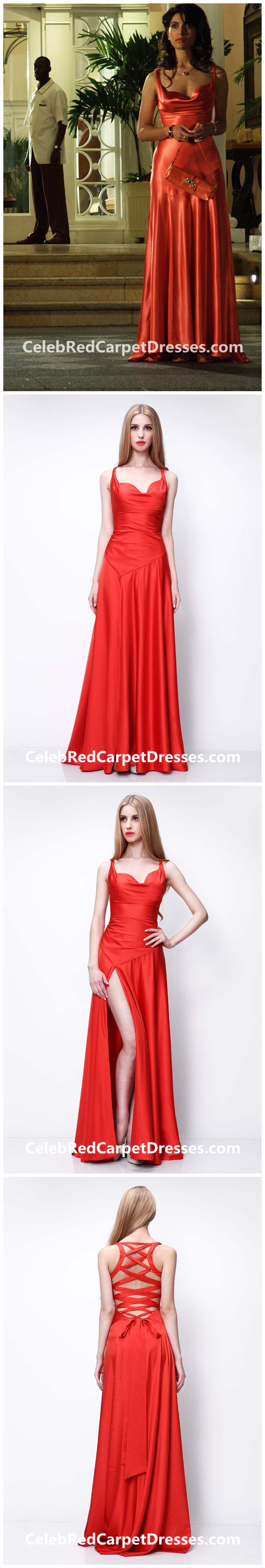 caterina murino slit dress red satin prom dress casino