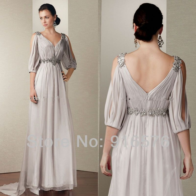 Dresses Evening Mother Of Bride Chiffon Dress Women Gowns With Long Sleeve Show Big Arms A Line V Ladies Gown Gowns For Plus Size Women Chiffon Cocktail Dress