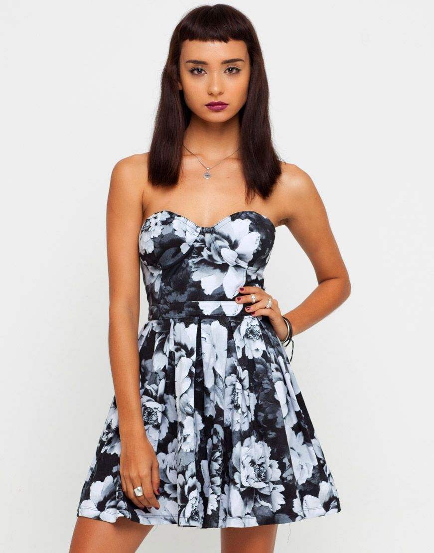 0d1072b71 Buy Motel Pearl Strapless Dress in Tonal Floral Black and White at Motel  Rocks