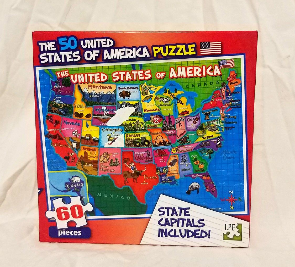 The 50 United States Of America Puzzle 60 Pieces