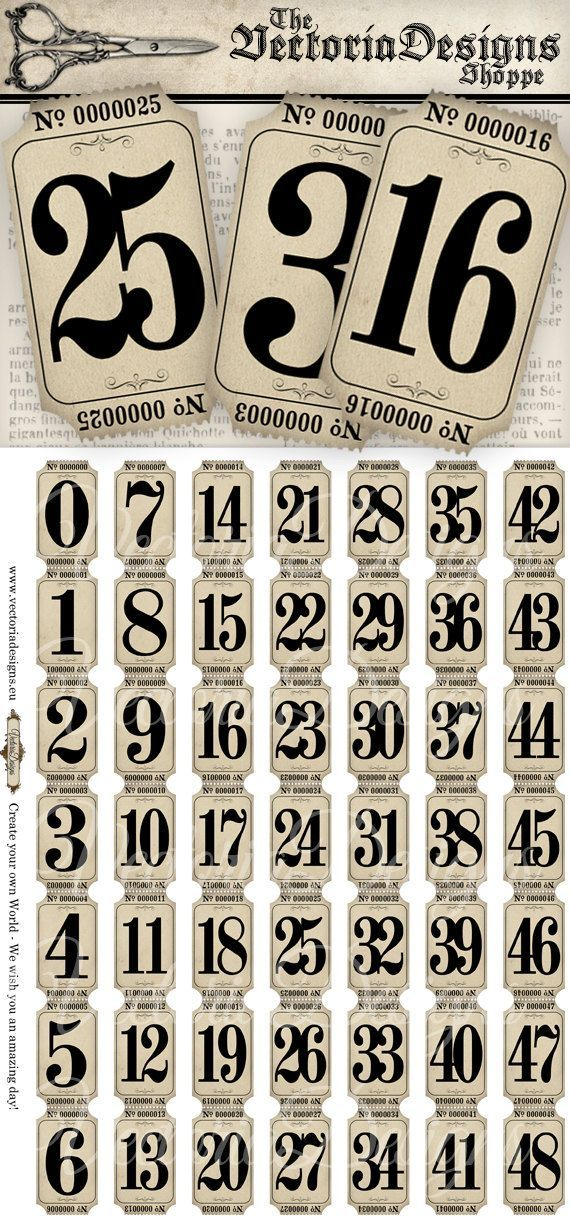 Vintage Tickets Strips With Numbers Hobby Crafting Printables Digital Graphics Instant Download Collage Sheet