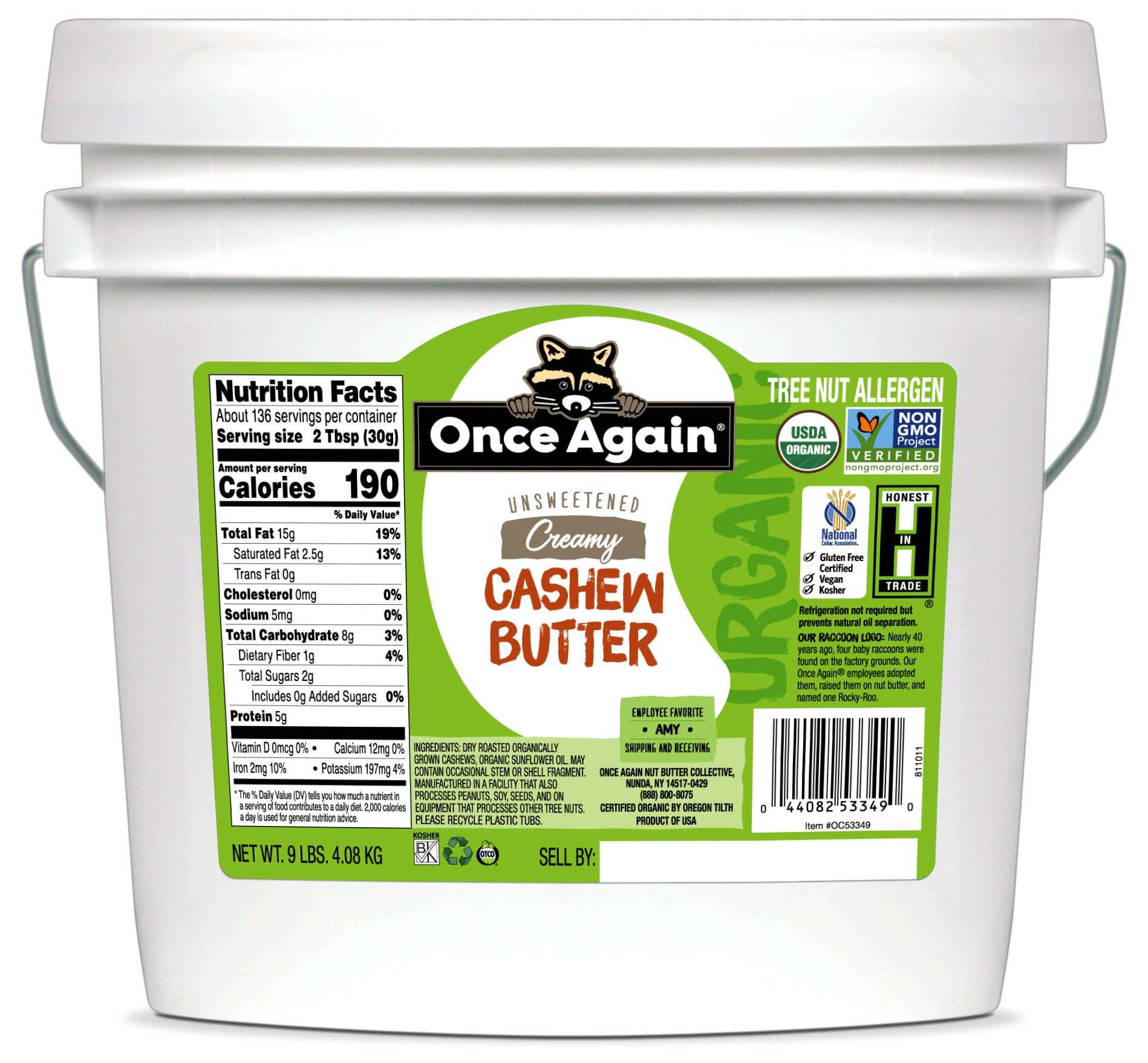 Photo of Organic Cashew Butter – Unsweetened – 9 lbs – 9 lbs Bucket / Each