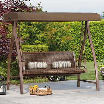 agio sierra woven swing with canopy