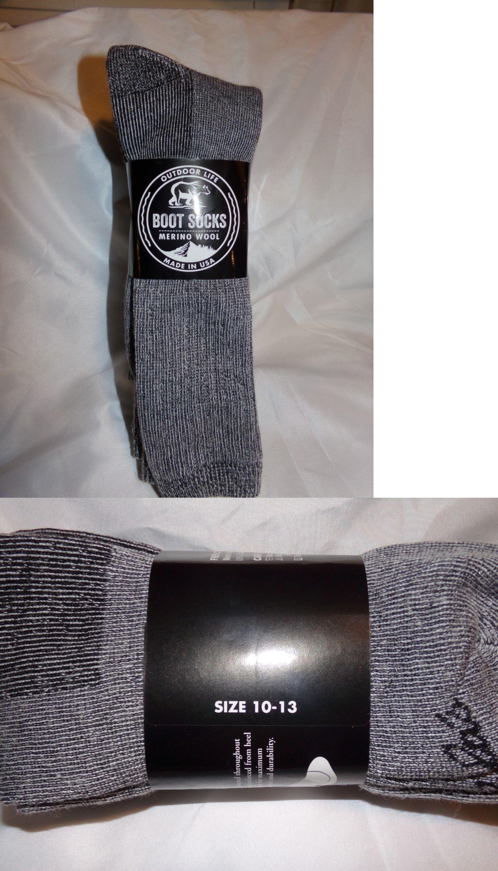 e43e3cf8b6406 Socks 166695: 3 Pair Mens Gray Outdoor Life 48% Merino Wool Socks Size 10-13,  100% Usa Made -> BUY IT NOW ONLY: $11.95 on #eBay #socks #outdoor #merino