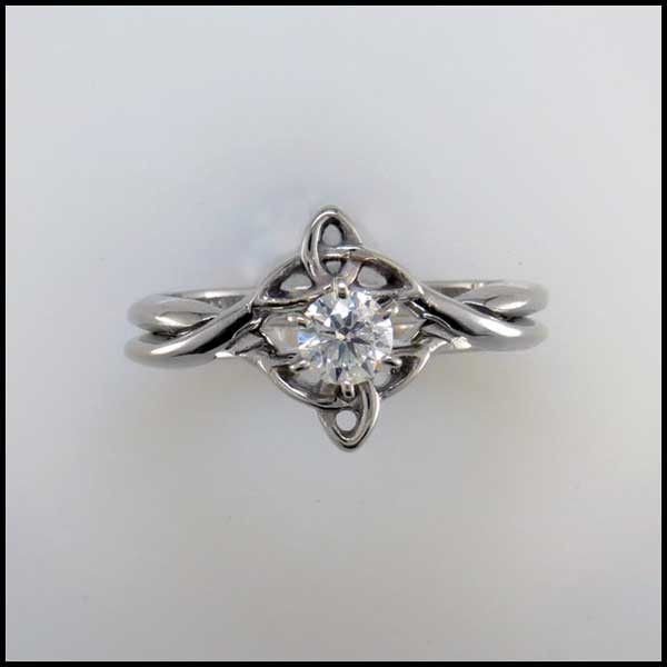 Interlocking Wedding Set With Diamond Celtic Engagement Rings