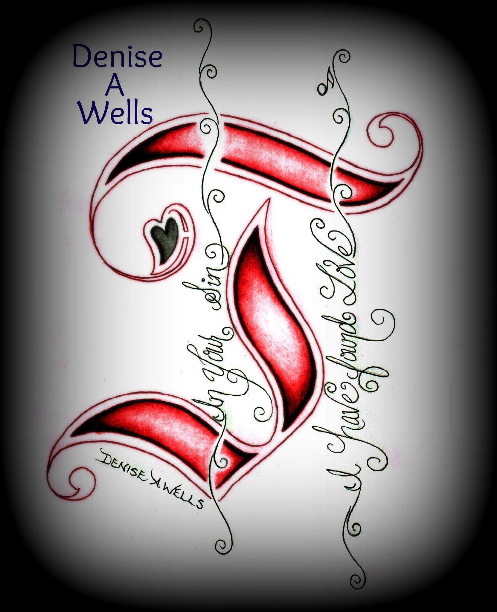 J - Love Tattoo Design By Denise A. Wells