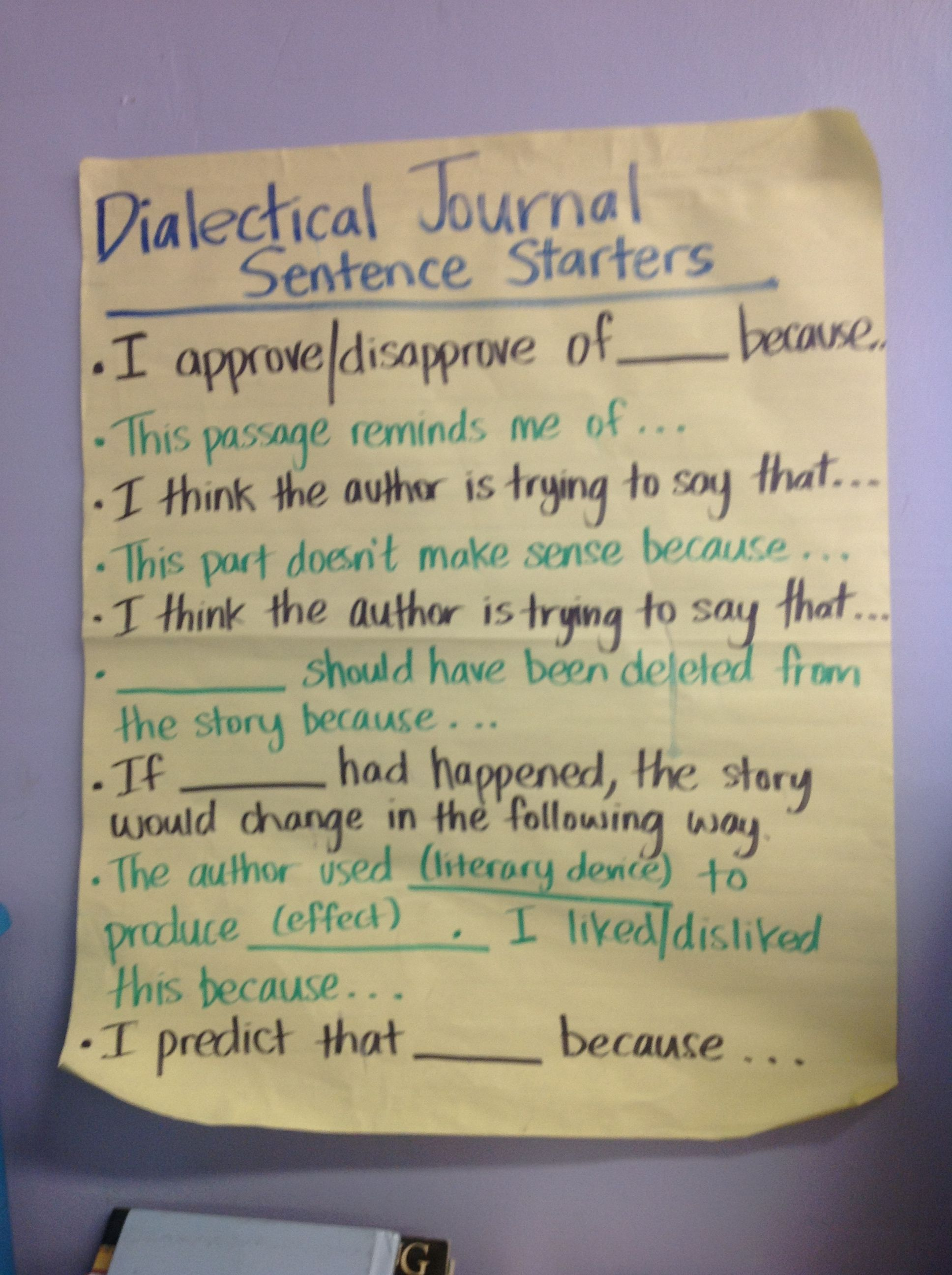 Dialectical Journal Sentence Frames