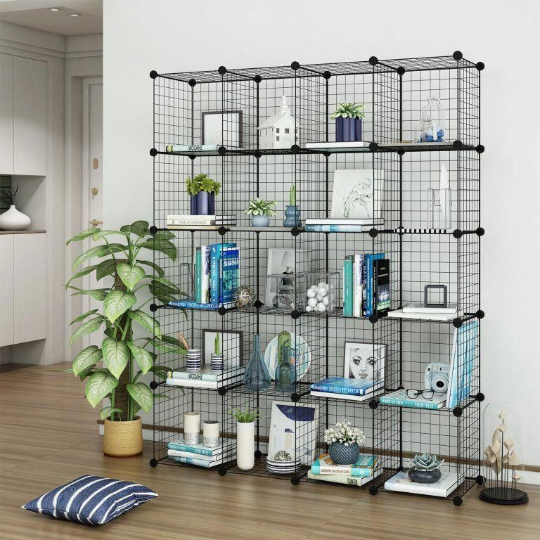 Tespo Wire Cube Storage Shelves Book Shelf Metal Best Offer Reviewframeworks Produced Using Rust Proof Steel Wire Painted Dark And Joi Hallway Ideas In 2019