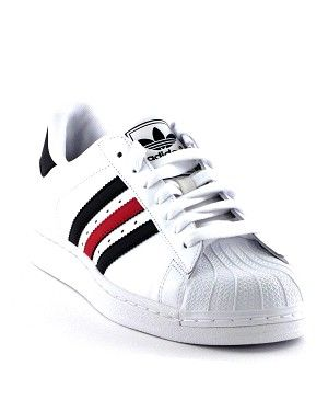 best service 68252 3b6b1 Adidas Superstar Shoe.Black and Red Detailing on Stripes and Back.Available  in White Black