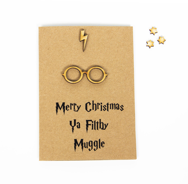 merry christmas ya filthy muggle christmas greeting card christmas harry potter handmade
