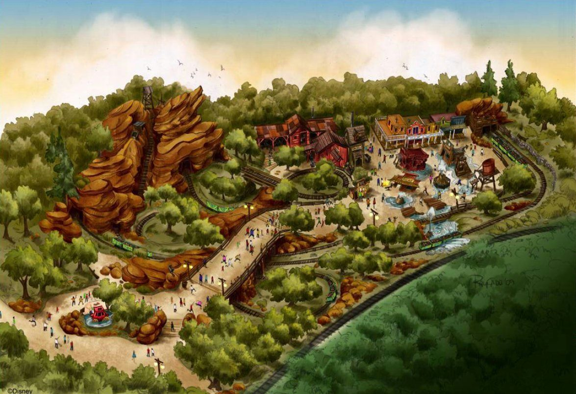 Artistic overview of Grizzly Gulch area at Hong Kong Disneyland