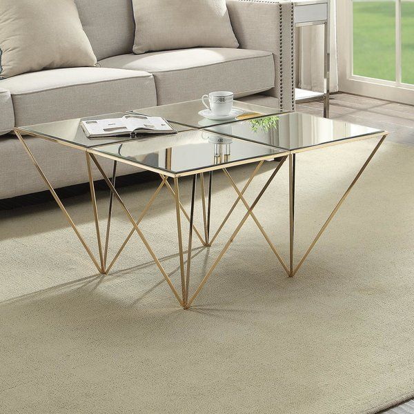 This Haelly Mirrored Coffee Table In Gold Is The Perfect Combination Of Grace And Style This Table Features A Mirror Coffee Table Table Mirrored Coffee Tables