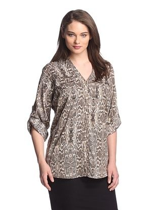 Calvin Klein Plus Women's Printed Roll-Sleeve Top (Black Combo Sand Viper)