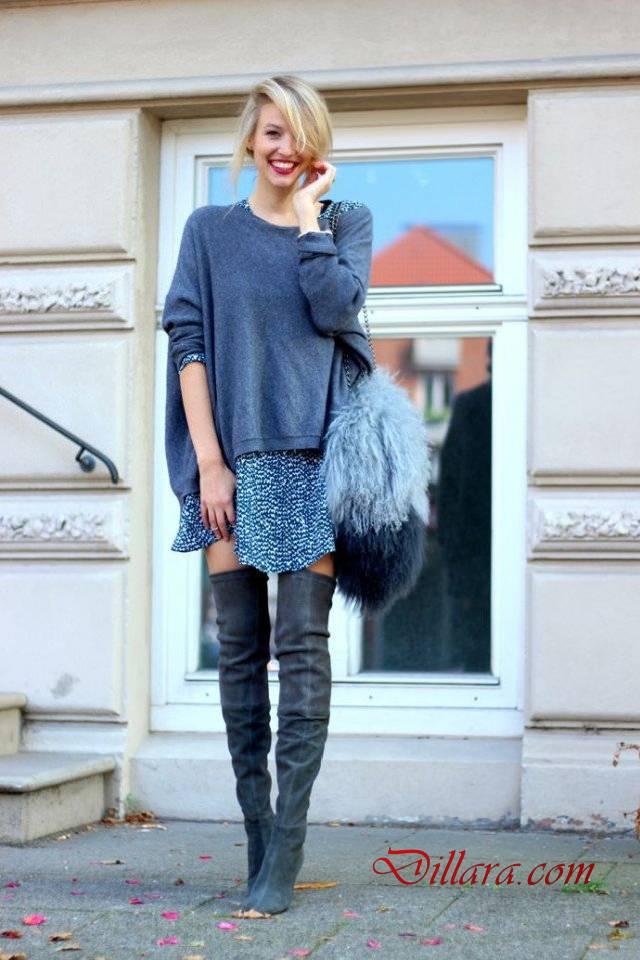 Sonbahar Kis Modasi Bayan Diz Ustu Cizme Kombinleri Dizustu Cizme Moda Stilleri Uzun Cizme