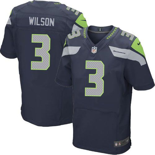 Discount Shop Online For Nike Seattle Seahawks #3 Russell Wilson Elite Steel  for sale