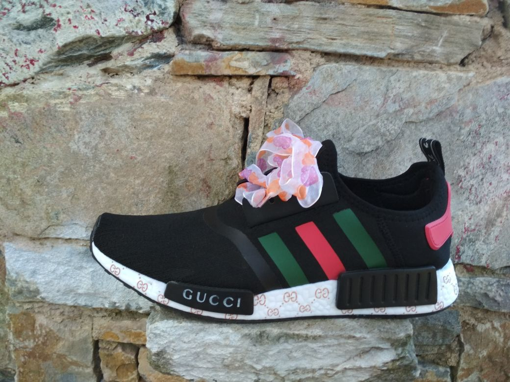 e0dde607d0459 custom adidas nmd shoes gucci style mens womens black and white color tri  colore print paint
