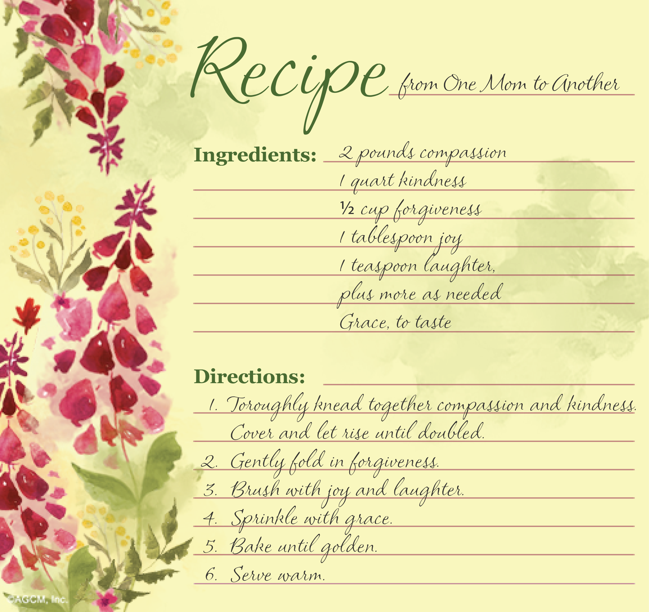 Printable Mother's Day Recipe Poems Mothers day poems