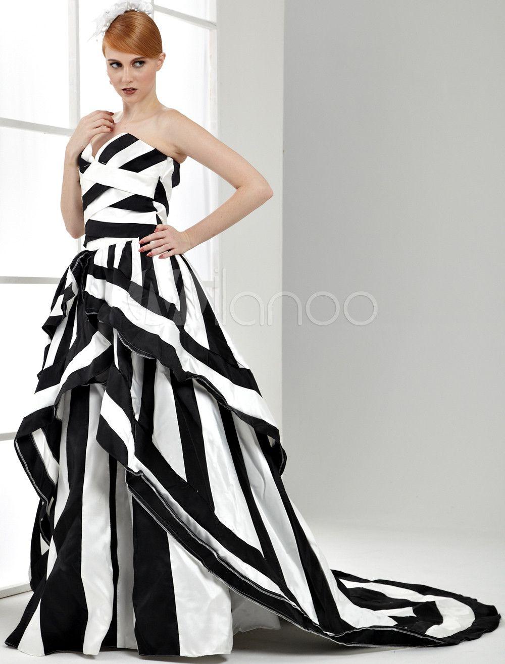 2019 Black and White Striped Wedding Dress - Wedding Dresses for ...