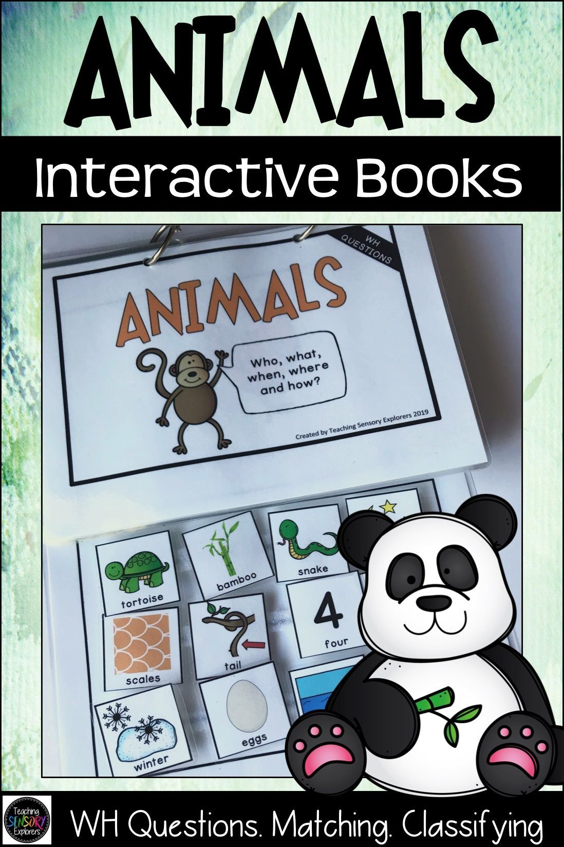 Animals Interactive Books Matching Classifying Wh