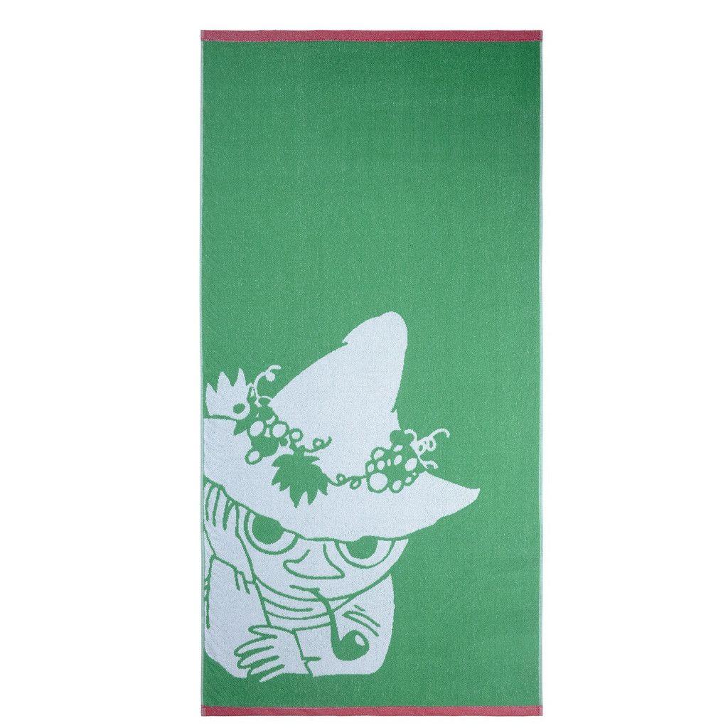 The new Snufkinbath towel by Finlayson presents a lovelypattern with Snufkinin a greencolour. The towel is made of 100 % cotton and is a great companion at home or at the summer cottage. Size 70 x 140 cm.Finlaysonin uudistuneen pyyhemallistonrauhallisessakuvituksessa nähdään Nuuskamuikkunen,värinä vihreä. Pyyhe on 100 % puuvillaa ja se sopii yhtä hyvin kotiin kuin kesämökillekin. Koko 70 x 140 cm.