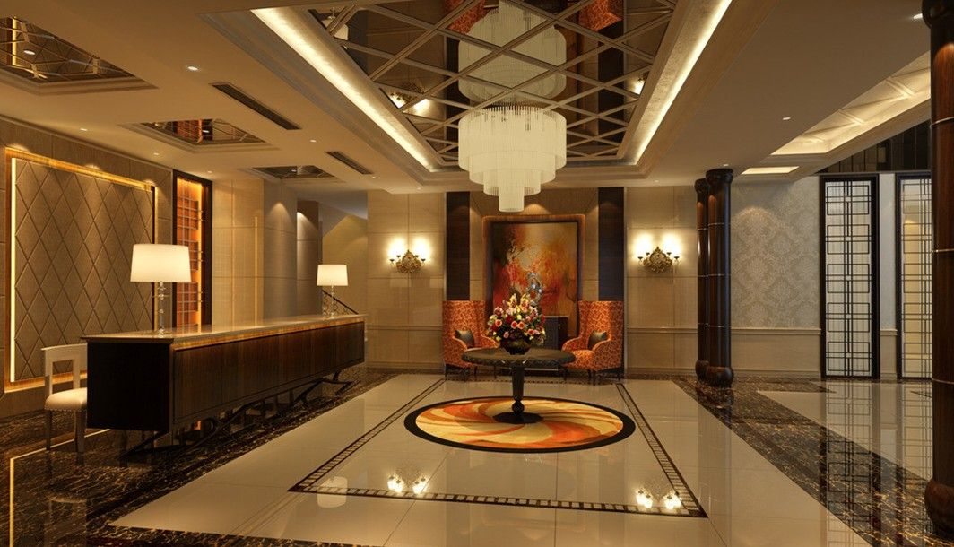 A balanced composition for lobby interior design with for Elegant hotel decor