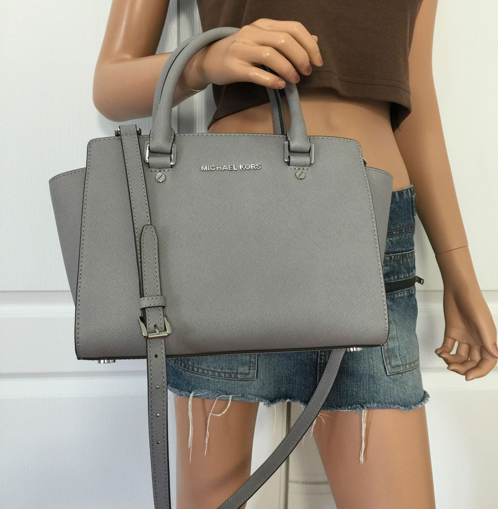 NWT MICHAEL KORS Selma Saffiano Leather Medium Satchel Tote Bag Purse Pearl  Grey  MichaelKors  TotesShoppers dea613385de