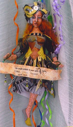 """PATTERN /""""COLLAGE DOLL/"""" BY CHRISTINE SHIVELY PAPER *NEW* CLOTH ART DOLL"""