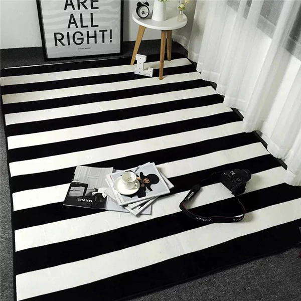 Black And White Stripes Carpet Modern Floor Rug Polyester Rug For