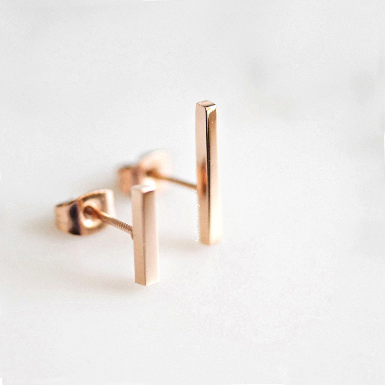 Bar Earrings Rose Gold Gold Silver Minimalist Geometric Stud