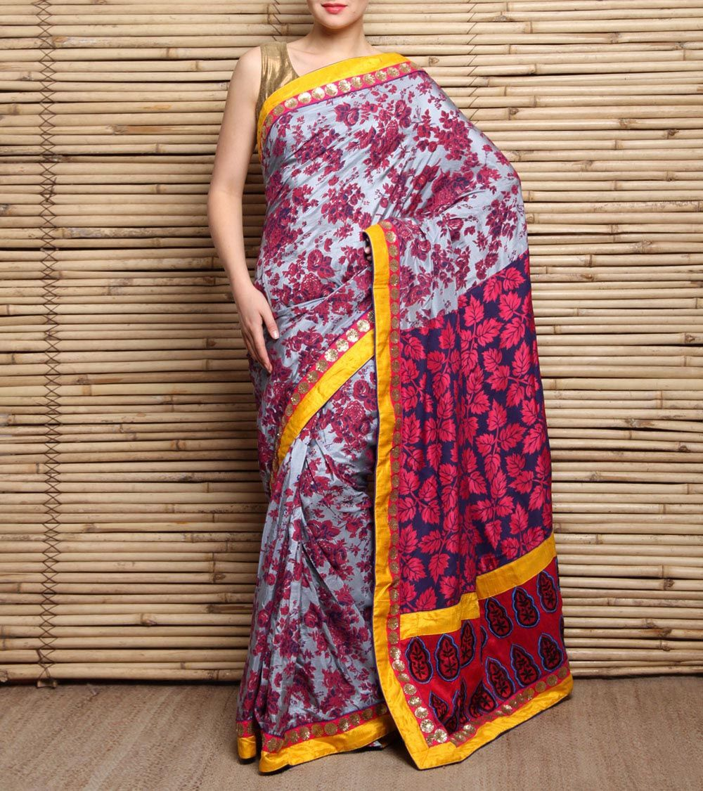 Red & Grey Embroidered Silk Saree-Chandri Mukherjee