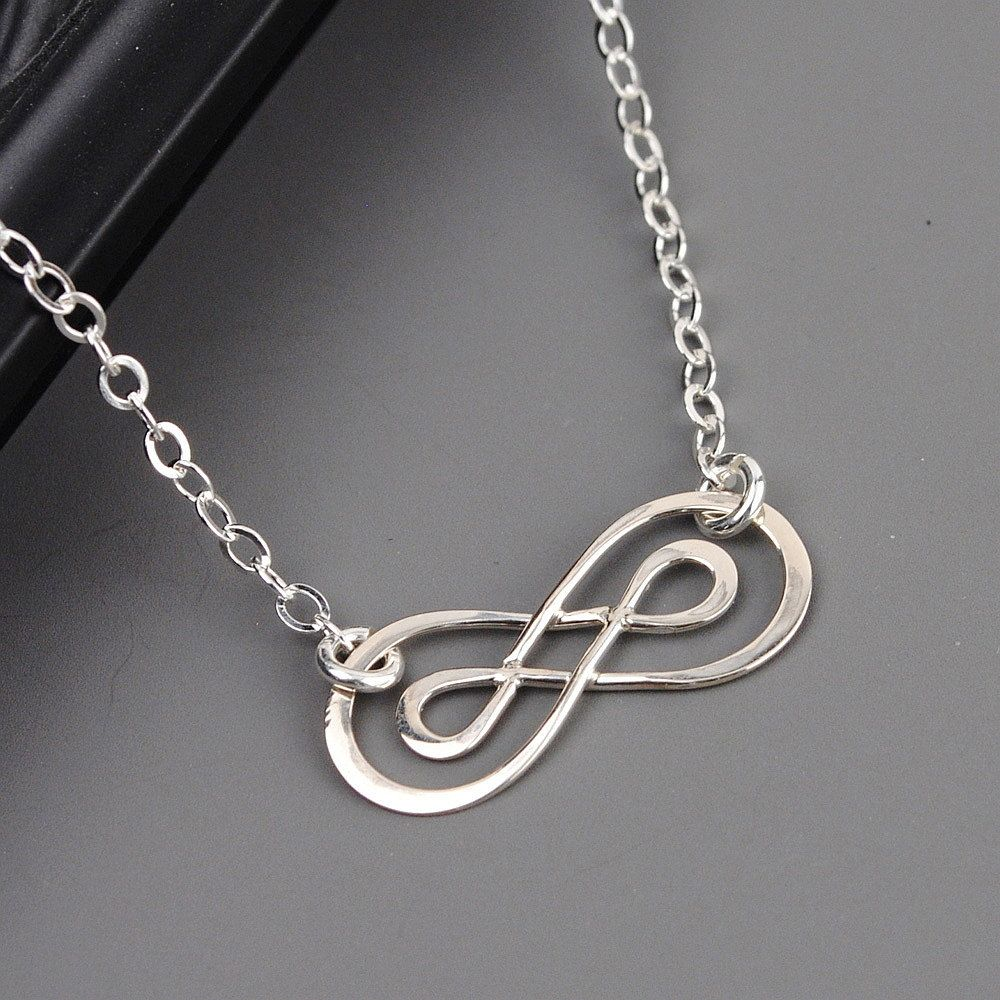 Silver Double Infinity Necklace Pendant Simple Sterling Silver