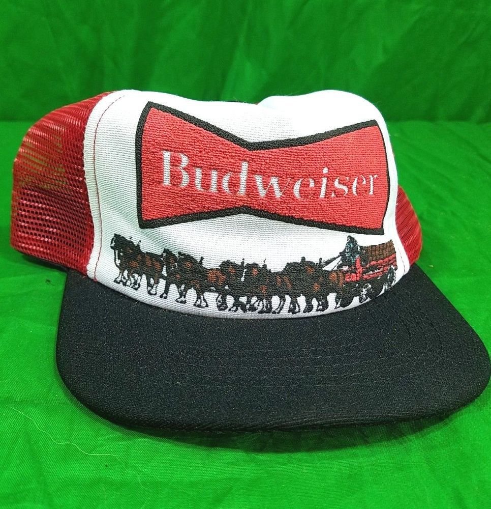 40493f81c31 Vtg USA Made Budweiser Clydesdale Wagon Trucker Mesh Snapback Beer Cap   Unbranded  Cap