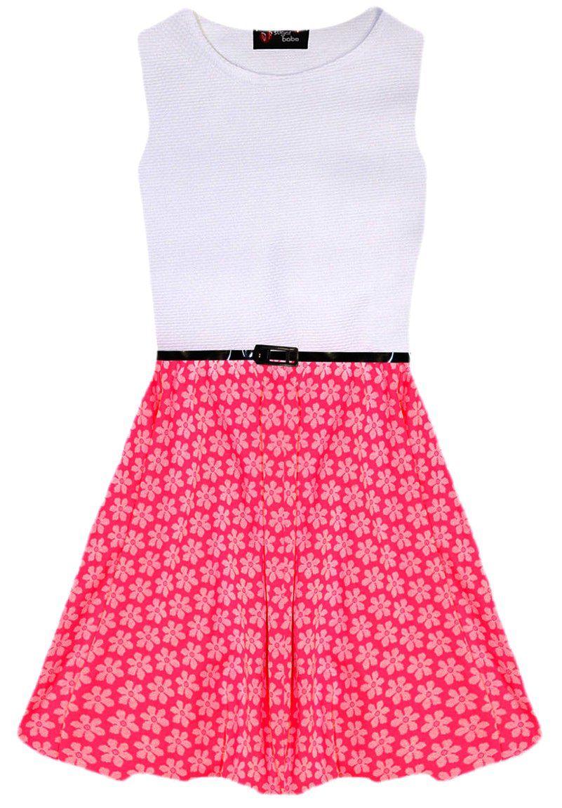 Filles rose neon floral robe patineuse rétro parti ceinturé blanc