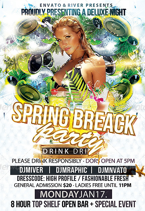 Spring Break Party Flyer Template  Party Flyer Templates For