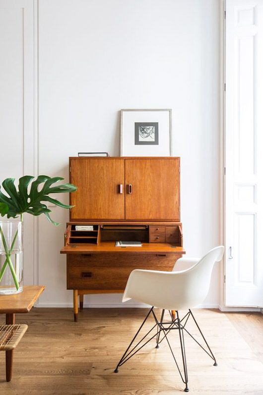 Wood Cabinet With Fold Down Desk And Modern Chair Sfgirlbybay
