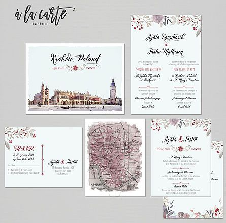 Krakow Poland Destination Wedding Invitation Polish Eastern