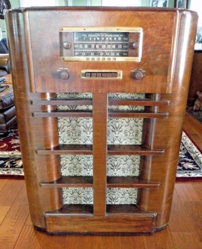 Vtg General Electric Tube Radio Shortwave Console 40 Quot H