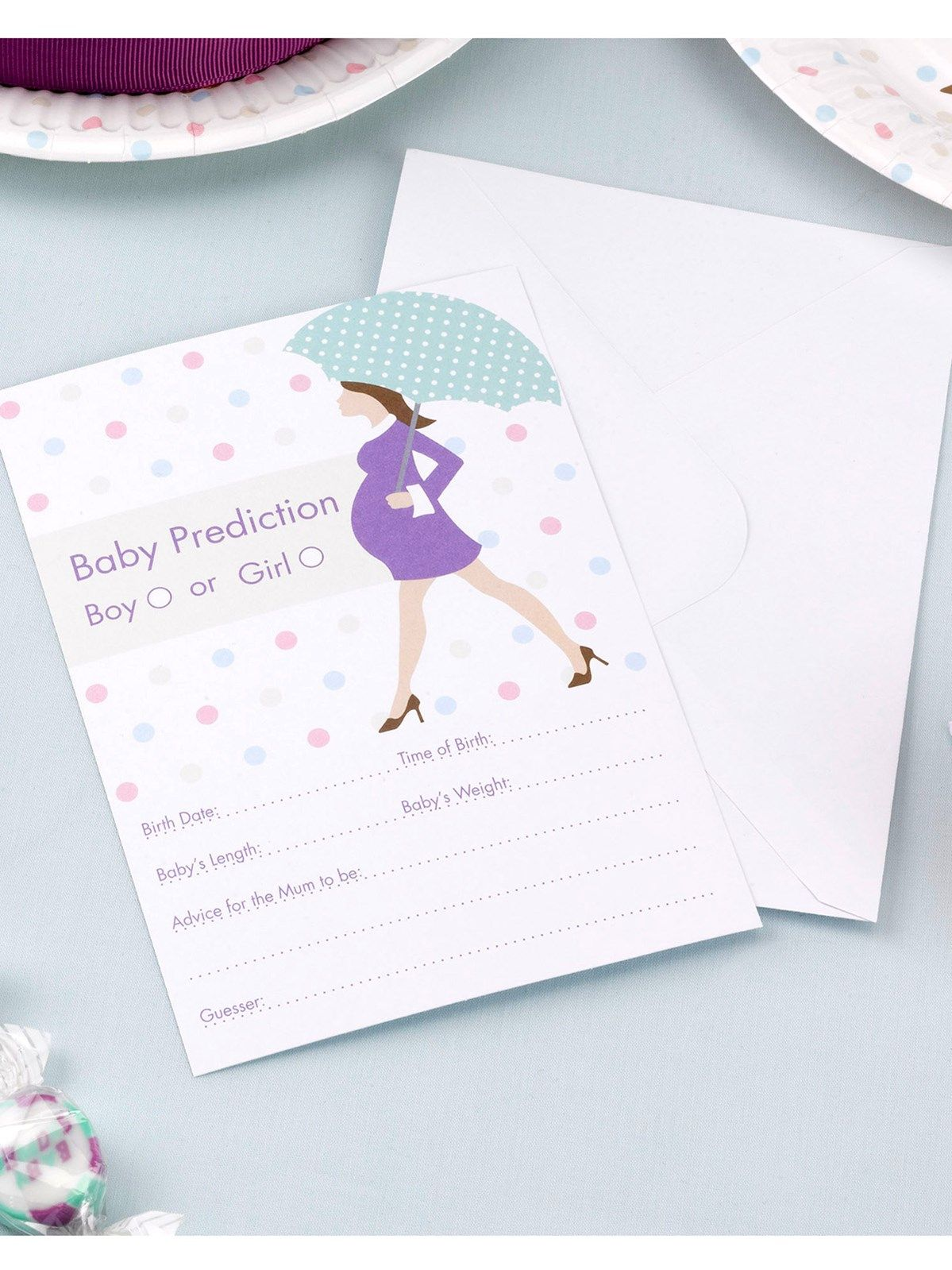 Showered with Love Baby Shower Baby Prediction Cards 10pk