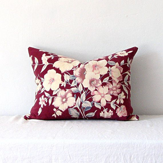 Vintage Burgundy Red Floral Cotton and Linen Pillow by jillbent